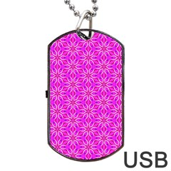 Pink Snowflakes Spinning In Winter Dog Tag Usb Flash (two Sides)  by DianeClancy