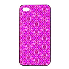 Pink Snowflakes Spinning In Winter Apple Iphone 4/4s Seamless Case (black) by DianeClancy