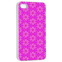 Pink Snowflakes Spinning In Winter Apple Iphone 4/4s Seamless Case (white)