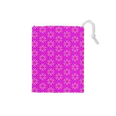 Pink Snowflakes Spinning In Winter Drawstring Pouches (small)  by DianeClancy