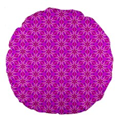 Pink Snowflakes Spinning In Winter Large 18  Premium Flano Round Cushions by DianeClancy