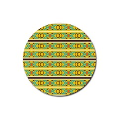Circles And Stripes Pattern       rubber Coaster (round) by LalyLauraFLM