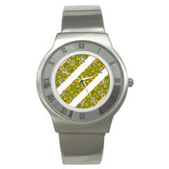 Indian Floral Pattern Stripes Stainless Steel Watch by dflcprints