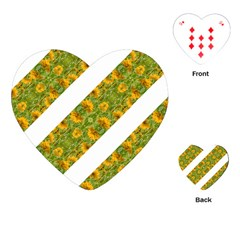 Indian Floral Pattern Stripes Playing Cards (heart)  by dflcprints