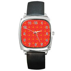 Peach Apricot Cinnamon Nutmeg Kitchen Modern Abstract Square Metal Watch by DianeClancy