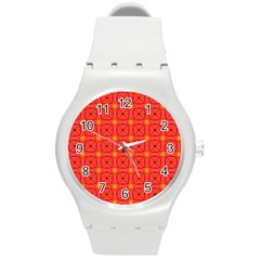 Peach Apricot Cinnamon Nutmeg Kitchen Modern Abstract Round Plastic Sport Watch (m) by DianeClancy