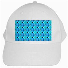 Vibrant Modern Abstract Lattice Aqua Blue Quilt White Cap by DianeClancy