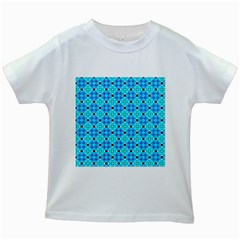 Vibrant Modern Abstract Lattice Aqua Blue Quilt Kids White T Shirts by DianeClancy