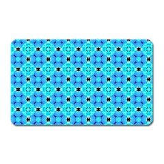 Vibrant Modern Abstract Lattice Aqua Blue Quilt Magnet (rectangular) by DianeClancy