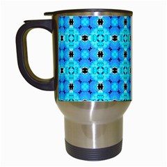 Vibrant Modern Abstract Lattice Aqua Blue Quilt Travel Mugs (white) by DianeClancy