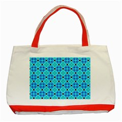Vibrant Modern Abstract Lattice Aqua Blue Quilt Classic Tote Bag (red) by DianeClancy