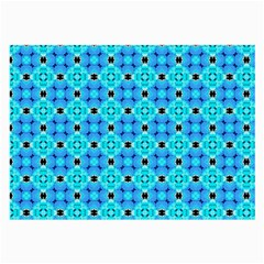 Vibrant Modern Abstract Lattice Aqua Blue Quilt Large Glasses Cloth by DianeClancy