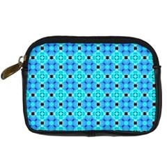 Vibrant Modern Abstract Lattice Aqua Blue Quilt Digital Camera Cases by DianeClancy