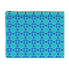 Vibrant Modern Abstract Lattice Aqua Blue Quilt Cosmetic Bag (xl) by DianeClancy