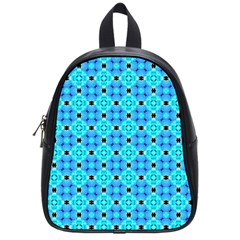 Vibrant Modern Abstract Lattice Aqua Blue Quilt School Bags (small)  by DianeClancy