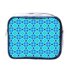 Vibrant Modern Abstract Lattice Aqua Blue Quilt Mini Toiletries Bags by DianeClancy