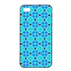 Vibrant Modern Abstract Lattice Aqua Blue Quilt Apple Iphone 4/4s Seamless Case (black) by DianeClancy