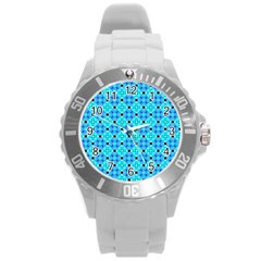 Vibrant Modern Abstract Lattice Aqua Blue Quilt Round Plastic Sport Watch (l) by DianeClancy