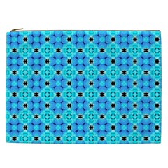 Vibrant Modern Abstract Lattice Aqua Blue Quilt Cosmetic Bag (xxl)  by DianeClancy