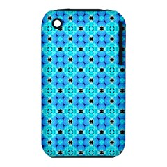 Vibrant Modern Abstract Lattice Aqua Blue Quilt Apple Iphone 3g/3gs Hardshell Case (pc+silicone) by DianeClancy