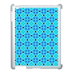Vibrant Modern Abstract Lattice Aqua Blue Quilt Apple Ipad 3/4 Case (white) by DianeClancy
