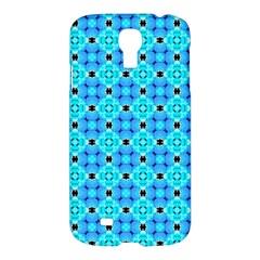 Vibrant Modern Abstract Lattice Aqua Blue Quilt Samsung Galaxy S4 I9500/i9505 Hardshell Case by DianeClancy