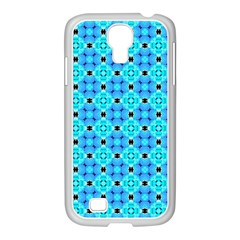 Vibrant Modern Abstract Lattice Aqua Blue Quilt Samsung Galaxy S4 I9500/ I9505 Case (white) by DianeClancy