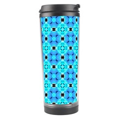 Vibrant Modern Abstract Lattice Aqua Blue Quilt Travel Tumblers by DianeClancy