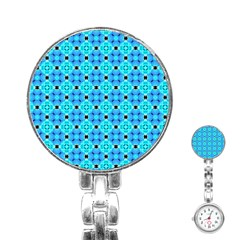Vibrant Modern Abstract Lattice Aqua Blue Quilt Stainless Steel Nurses Watch by DianeClancy