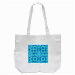 Vibrant Modern Abstract Lattice Aqua Blue Quilt Tote Bag (white) by DianeClancy