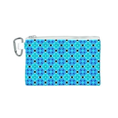 Vibrant Modern Abstract Lattice Aqua Blue Quilt Canvas Cosmetic Bag (s) by DianeClancy