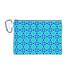 Vibrant Modern Abstract Lattice Aqua Blue Quilt Canvas Cosmetic Bag (m) by DianeClancy