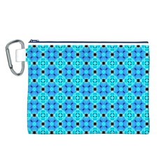 Vibrant Modern Abstract Lattice Aqua Blue Quilt Canvas Cosmetic Bag (l) by DianeClancy