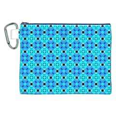 Vibrant Modern Abstract Lattice Aqua Blue Quilt Canvas Cosmetic Bag (xxl)  by DianeClancy