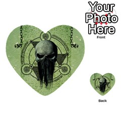 Awesome Green Skull Multi Purpose Cards (heart)  by FantasyWorld7