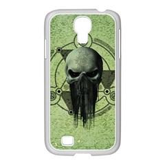 Awesome Green Skull Samsung GALAXY S4 I9500/ I9505 Case (White) by FantasyWorld7