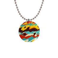 Wavy Retro  Texture           			1  Button Necklace by LalyLauraFLM