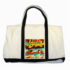 Wavy Retro  Texture           two Tone Tote Bag by LalyLauraFLM