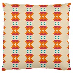 Triangles Tribal Pattern              	large Flano Cushion Case (two Sides) by LalyLauraFLM