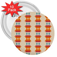 Triangles Tribal Pattern              3  Button (10 Pack) by LalyLauraFLM