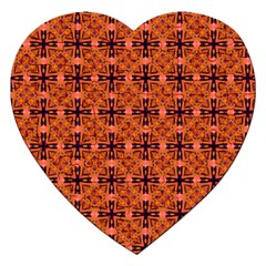 Peach Purple Abstract Moroccan Lattice Quilt Jigsaw Puzzle (heart) by DianeClancy