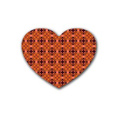 Peach Purple Abstract Moroccan Lattice Quilt Heart Coaster (4 Pack)  by DianeClancy
