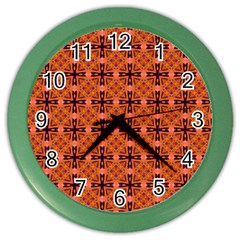 Peach Purple Abstract Moroccan Lattice Quilt Color Wall Clocks by DianeClancy