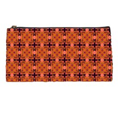 Peach Purple Abstract Moroccan Lattice Quilt Pencil Cases by DianeClancy