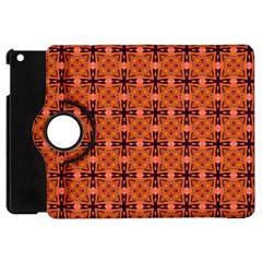 Peach Purple Abstract Moroccan Lattice Quilt Apple Ipad Mini Flip 360 Case by DianeClancy