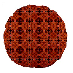 Peach Purple Abstract Moroccan Lattice Quilt Large 18  Premium Round Cushions by DianeClancy