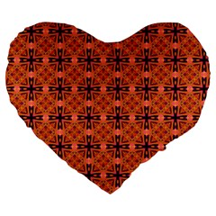 Peach Purple Abstract Moroccan Lattice Quilt Large 19  Premium Heart Shape Cushions by DianeClancy