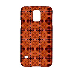 Peach Purple Abstract Moroccan Lattice Quilt Samsung Galaxy S5 Hardshell Case  by DianeClancy