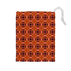 Peach Purple Abstract Moroccan Lattice Quilt Drawstring Pouches (large)  by DianeClancy