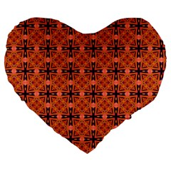 Peach Purple Abstract Moroccan Lattice Quilt Large 19  Premium Flano Heart Shape Cushions by DianeClancy